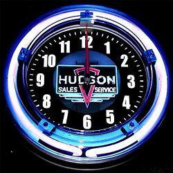 HUDSON LOGO - 11 Blue Neon Wall Clock