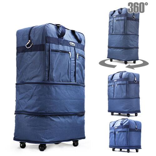 """30"""" Blu Rolling Wheeled Duffle Duffel Bag Spinner Suitcase Luggage Expandable"""