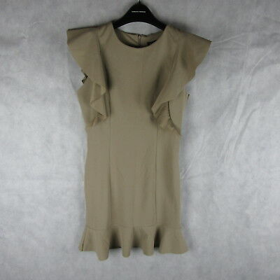 New Stunning! Boohoo Khaki Emma Frill Khaki Dress Size 10 Casual Stylish Fashion