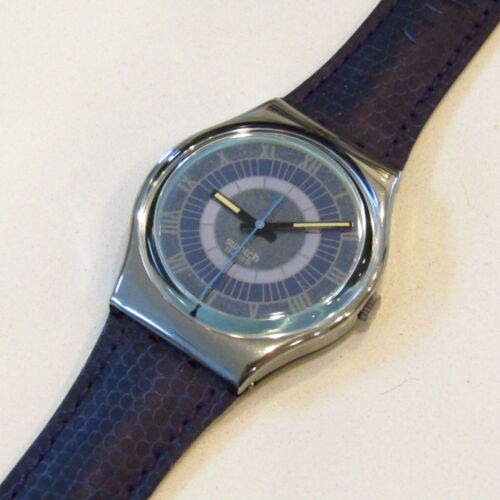 "Vintage SWATCH Watch ""Alexander"" GX123 1992 Blue Leather NEW Old Stock"