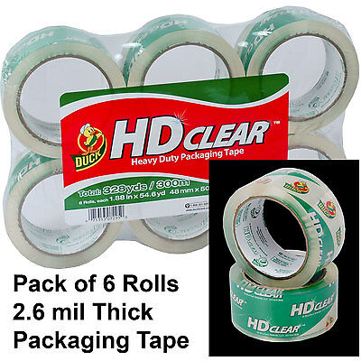 Pack Of 6 Rolls Duck Hd Clear 2.6 Mil Packaging Tape 1.88 X 54.6 Yd.