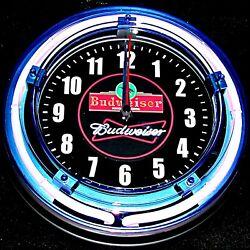 BUDWEISER LOGO - 11 Blue Neon Wall Clock