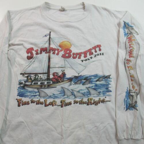 2011 Jimmy Buffett T Shirt Fins To the Left Concert Tour Long Sleeve MEDIUM