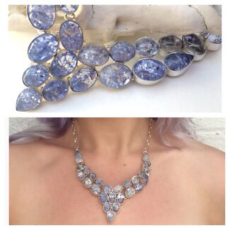 Brand New Huge Sterling Silver & Gemstone Crystal Necklaces RRP $900 North Melbourne Melbourne City Preview