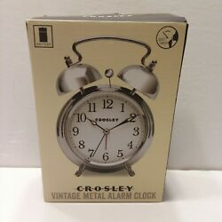 NEW Timelink Crosley Classic Twin Bell Vintage Metal Alarm Clock Non Ticking