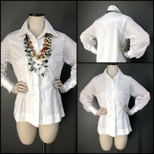 Vintage 70s Blouse White Lace Billow Sleeve TEM TEX Western Shirt Deep Cuff L