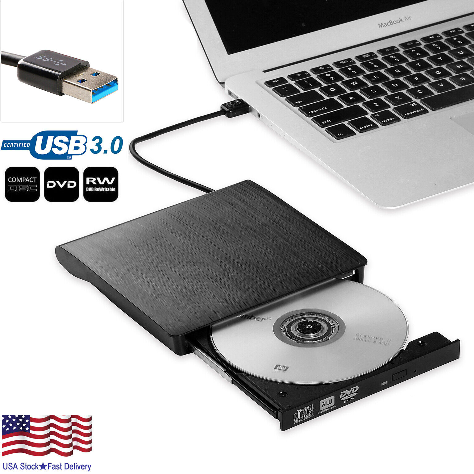 Slim External USB 3.0 DVD RW CD Writer Drive Burner Reader Player For Laptop PC CD, DVD & Blu-ray Drives