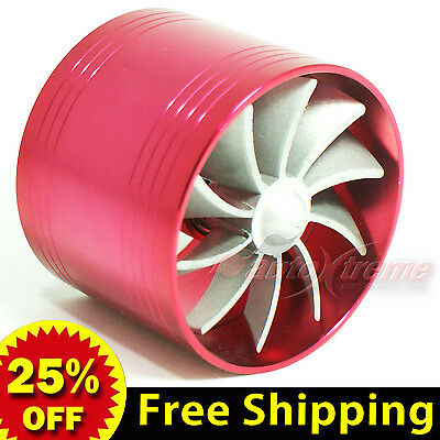 """2.5""""-2.9"""" 64-74mm TURBO Supercharger AIR INTAKE TURBINE Gas Fuel Saver Fan RED"""