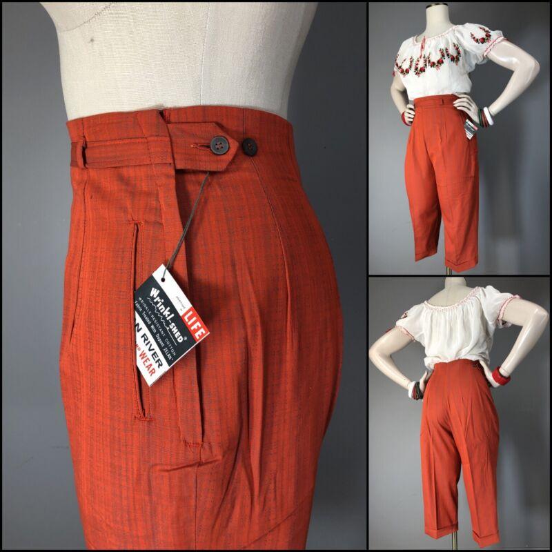 Vtg Pants High Waist 50s Tangerine Cigarette Cuffed Capris Cotton Side Zip NOS