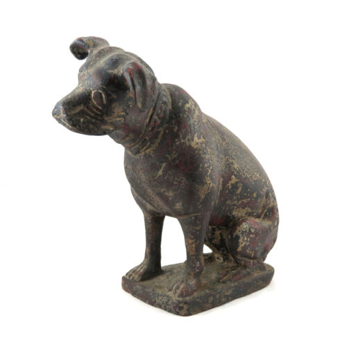 """Antique 15"""" Carved Wood Jack Russell Terrier Nipper RCA Dog Statue"""