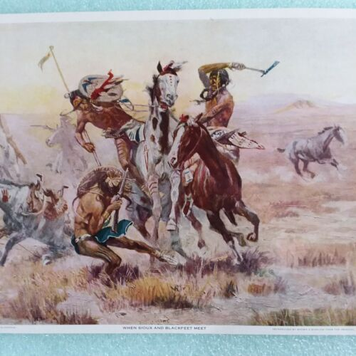 When Sioux And Blackfeet Meet Oil Painting C.M.Russell 1908 9x15 Western Print - $18.00