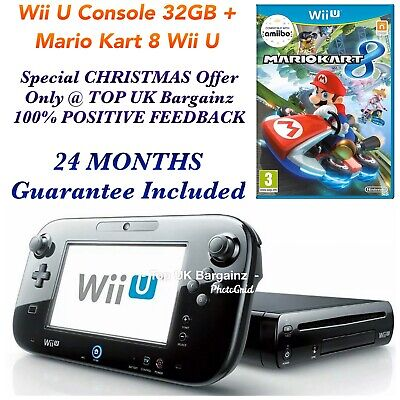 Nintendo Wii U Black Console 32GB + Mario Kart 8 - GENUINE & OFFICIAL - Sold 60+