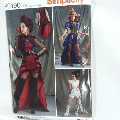 Simplicity H0190 R5 Size 14-22 Steampunk Sexy Witch Vampire Halloween Costumes  ](Steampunk Halloween Costumes Plus Size)
