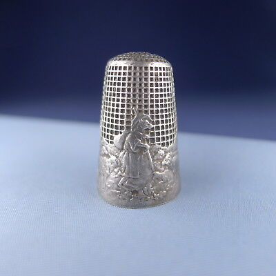 Rare Sterling Silver Thimble Lafontaine Fable / French Antique
