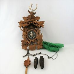 Black Forest Cuckoo Clock West Germany Wood Regula Mov't Deer Antlers Vtg