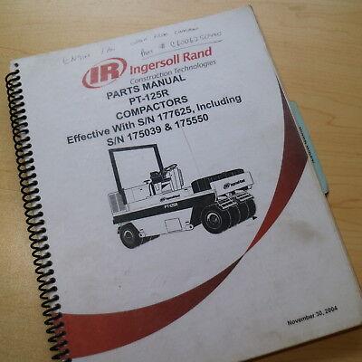 Ir Ingersoll Rand Pt-125r Pneumatic Tire Asphalt Roller Compactor Parts Manual