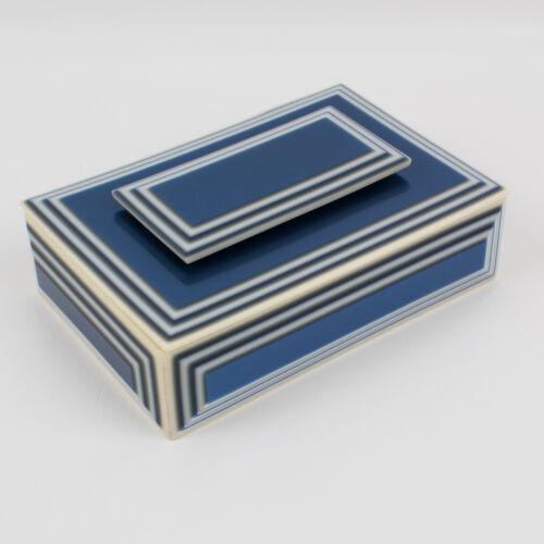 Vintage Lea Stein Blue and White Acetate Box