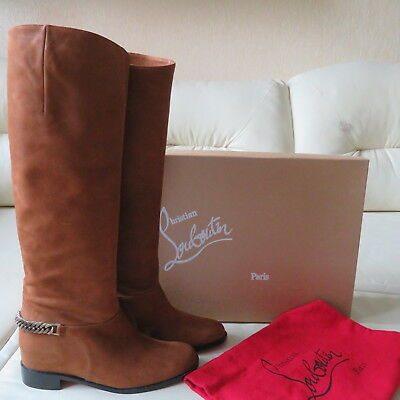 NEW Christian Louboutin Cate Chain Flat Riding Copper Brown Boots 37 NIB