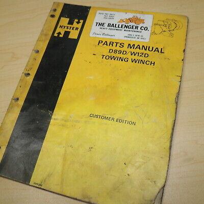 Hyster D89d W12d Towing Winch Parts Manual Catalog Cat Tractor Caterpillar List