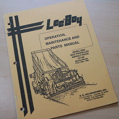 Leeboy 8000 Paver Parts Owner Operator Operation Maintenance Manual Book List
