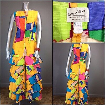 Superb 60s Mod Ruffled MALIA OP ART Hawaiian Jumpsuit EDNA OLIVER Psychedelic