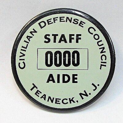 "1940's WWII CIVIL DEFENSE COUNCIL TEANECK N.J. Home Front 3.5"" pinback badge +"