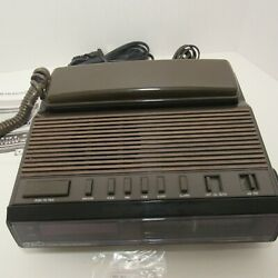 Tozai Hands-Free Speaker Telephone, AM/FM Alarm Clock, Radio Brown, Model-TR-308