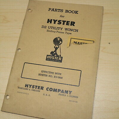 Hyster D2 R2 Tractor Utility Winch Owner Operator Parts Manual Book Crawler Book