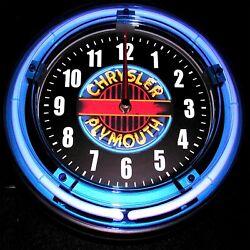 CHRYSLER PLYMOUTH LOGO - 11 Blue Neon Wall Clock