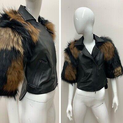 NWT BCBG MAXAZRIA RUNWAY Women's Frankie Black Racoon Fur Leather Jacket Size XS