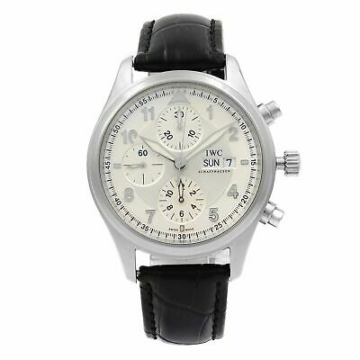 IWC Spitfire Pilot Chronograph Steel Silver Dial Automatic Mens Watch IW371702