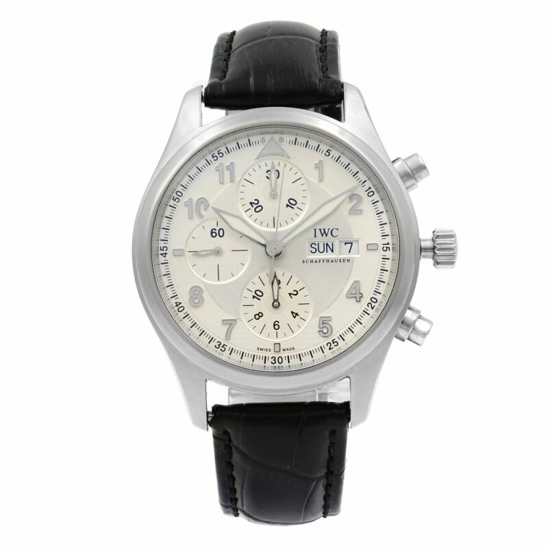 IWC Spitfire Pilot Chronograph Steel Silver Dial Automatic Mens Watch IW371702 - watch picture 1