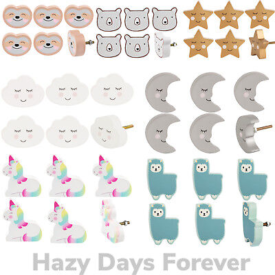 - 6 PACK KIDS ROOM DOOR KNOBS Childrens Drawer Pull Animals Cupboard Handles NEW