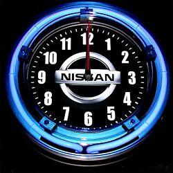 NISSAN LOGO - 11 Blue Neon Wall Clock