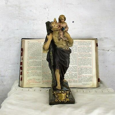 Statue Saint Christopher Infant Patron Saint Travelers Plaster Signed Collector