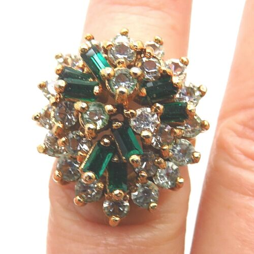 DAC Green Baguette Clear Rhinestone Vintage Gold Plated Cluster Ring 6  SS007