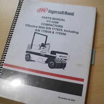 Ir Ingersoll Rand Pt125r Asphalt Roller Compactor Parts Manual Book Catalog 2004