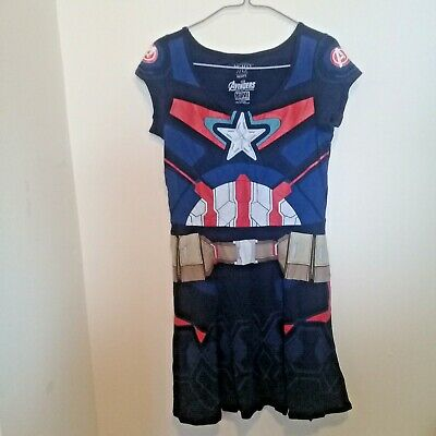 Ladies The Avengers Captain America Fancy Dress Womens Superhero Costume