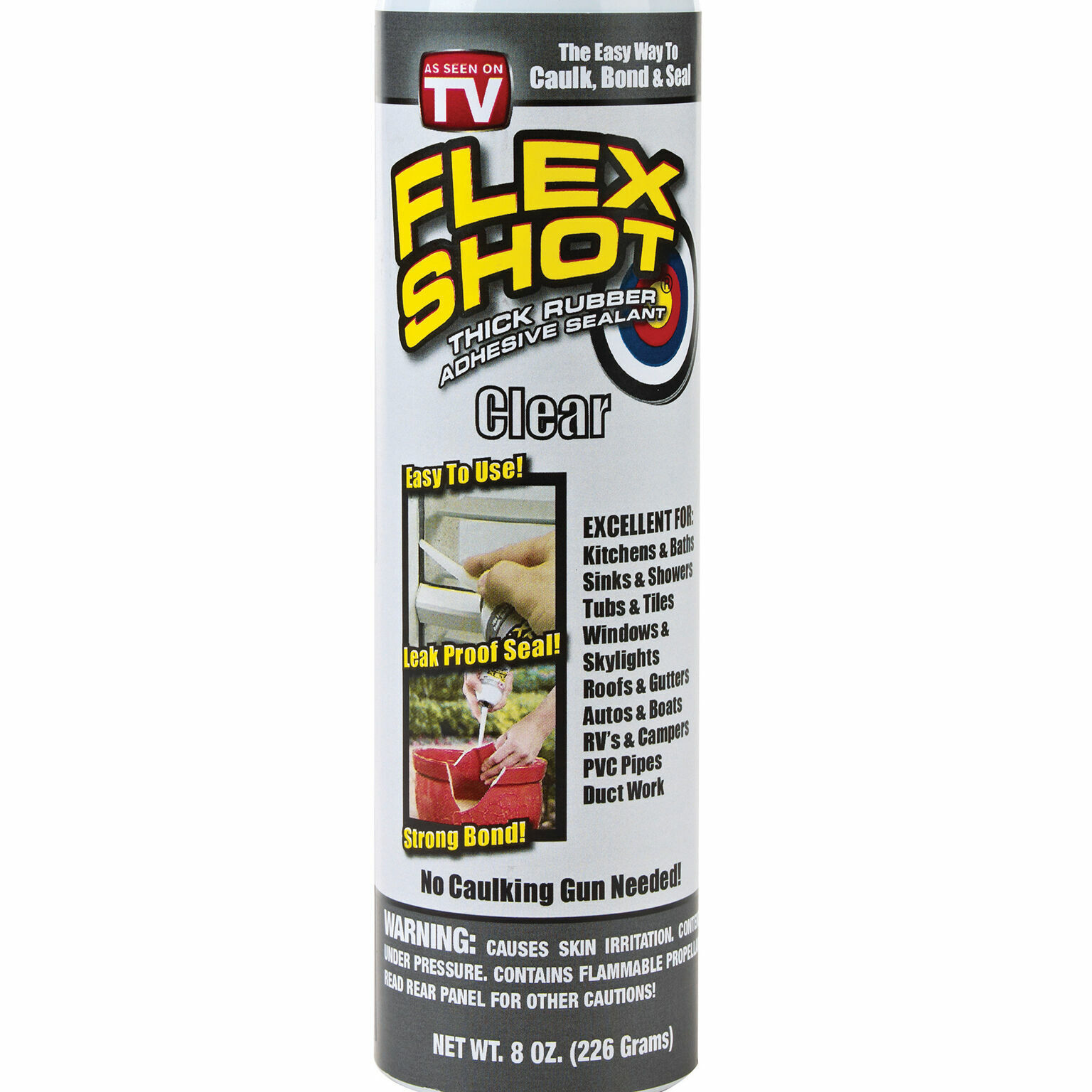1 JUMBO Flex Shot 8oz CLEAR Rubber Sealant  As Seen On TV  B