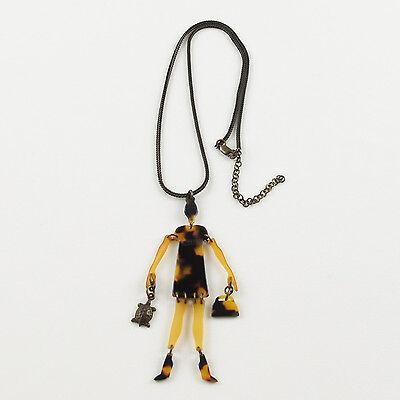 Vintage Jean Paul Gaultier Necklace 1980s faux tortoise fashion figurine