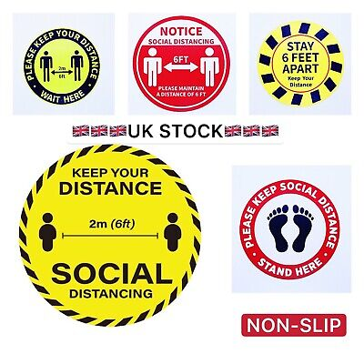 Social Distance Floor Sticker Decals 2 Meter Warning Sign 10 inches Non Slip
