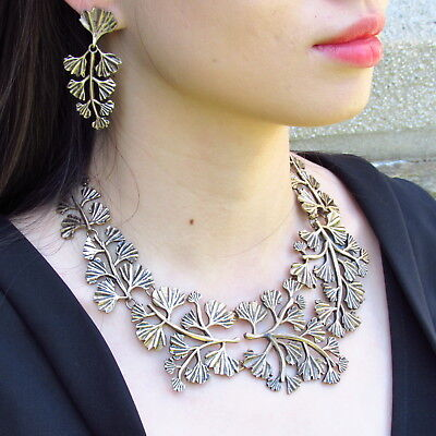 Oscar De La Renta Brass Leaf Necklace  Elegant