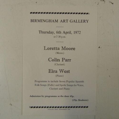 concert programme LORETTA MOORE , COLIN PARR , EIRA WEST birmingham 1972