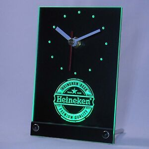 heineken bi re led 3d table horloge publicit lumineuse bar bistro ebay. Black Bedroom Furniture Sets. Home Design Ideas