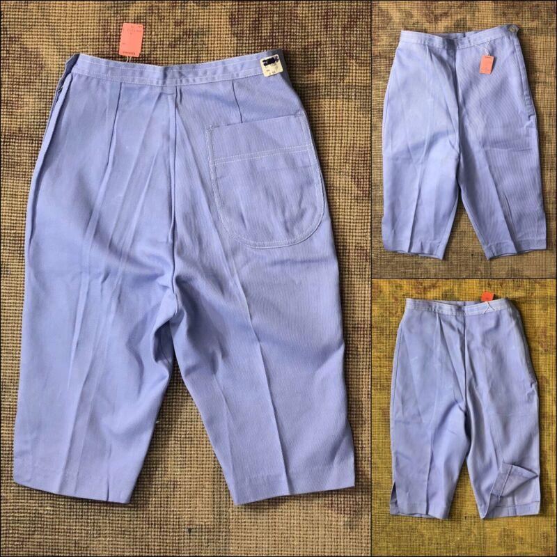 Vtg 50s 60s Girls Capris High Waist Lavender Cotton Shorts Side Metal Zip NOS 23