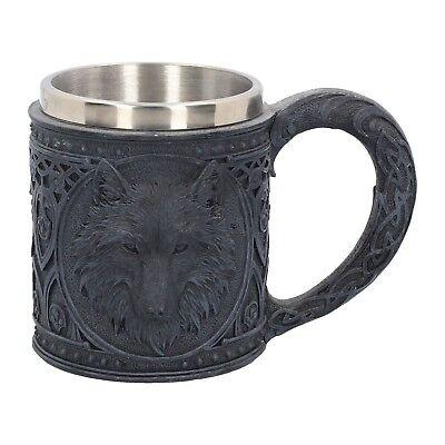 Krug Bierkrug Wolf schwarz Wölfe Gothic Fantasy Halloween Trinkgefäß NN63