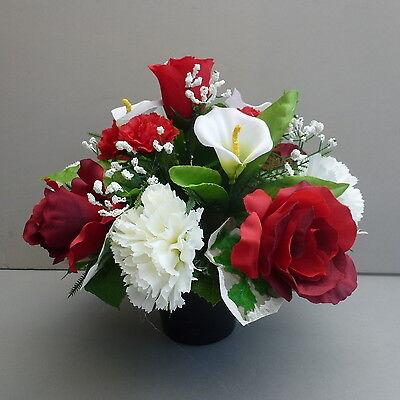 Artificial Flower Arrangement Red/ White In Pot For Grave/Memorial Vase