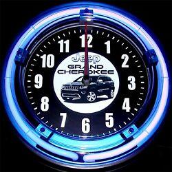 JEEP GRAND CHEROKEE LOGO - 11 Blue Neon Wall Clock