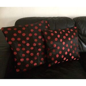 2 x Red & Black Hand Tailored Cushion Covers w Asian Pattern. Exc Cond North Melbourne Melbourne City Preview