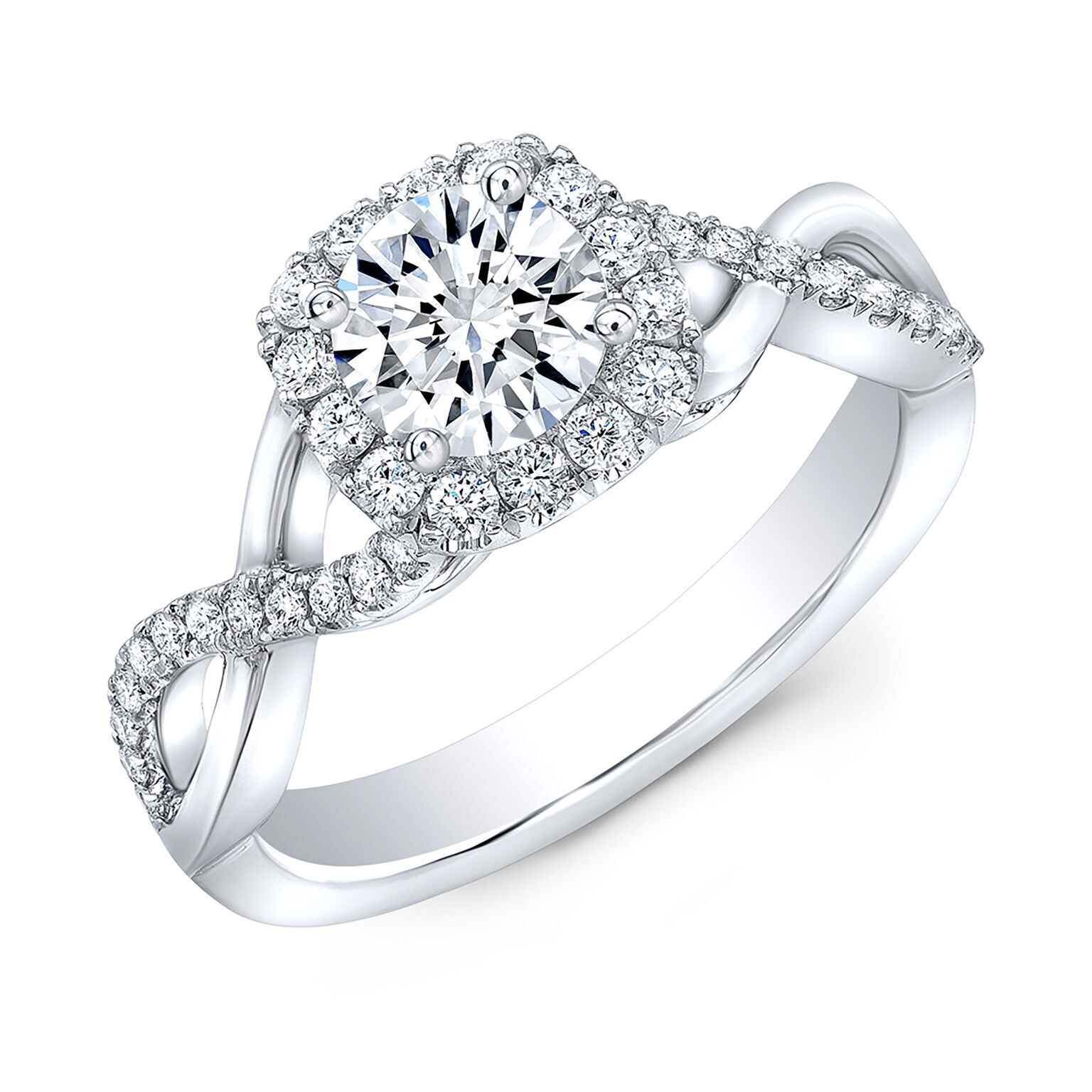 Natural Round Cut Twisted Pave Diamond Engagement Ring - GIA Certified 2